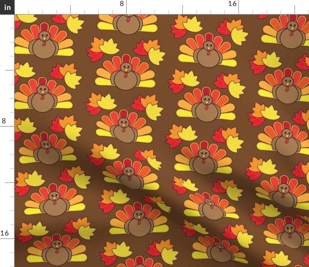 Spoonflower 物品 Fabric - Turkey Leaves Lea Autumn 最安値 Thanksgiving Maple