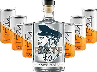 Fiete Premium Getreidebrand 0,5l 38,6% Vol  6x 1724 Tonic Water Dosen 200ml inkl. Pfand EINWEG -Enthält Sulfite
