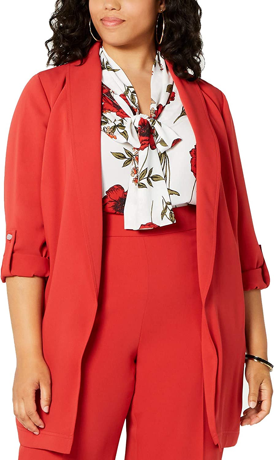 Bar III Trendy Plus Size Belted Shawl-Collar Jacket, Sunset RED, 2X