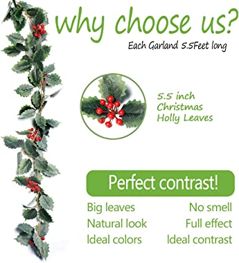 iflove Christmas Garland Holly Leaves and Red Berries Winter Garland, Holiday Decoration Holly Leaf Garland, 5.5 FT Premium G
