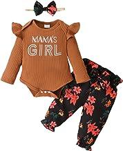 Pasgeboren Baby Meisje Bloemen Kleding Outfit Ruches Lange Mouwen Geribbelde Mamas Meisje Romper Jumpsuit Bloemen Broek Ho...