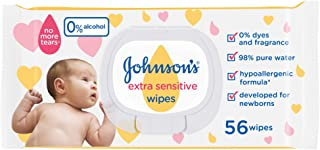Johnson's Baby Wipes Extra Sensitive 98% Pure Water, 12 X 56 Wipes - Pack of 1