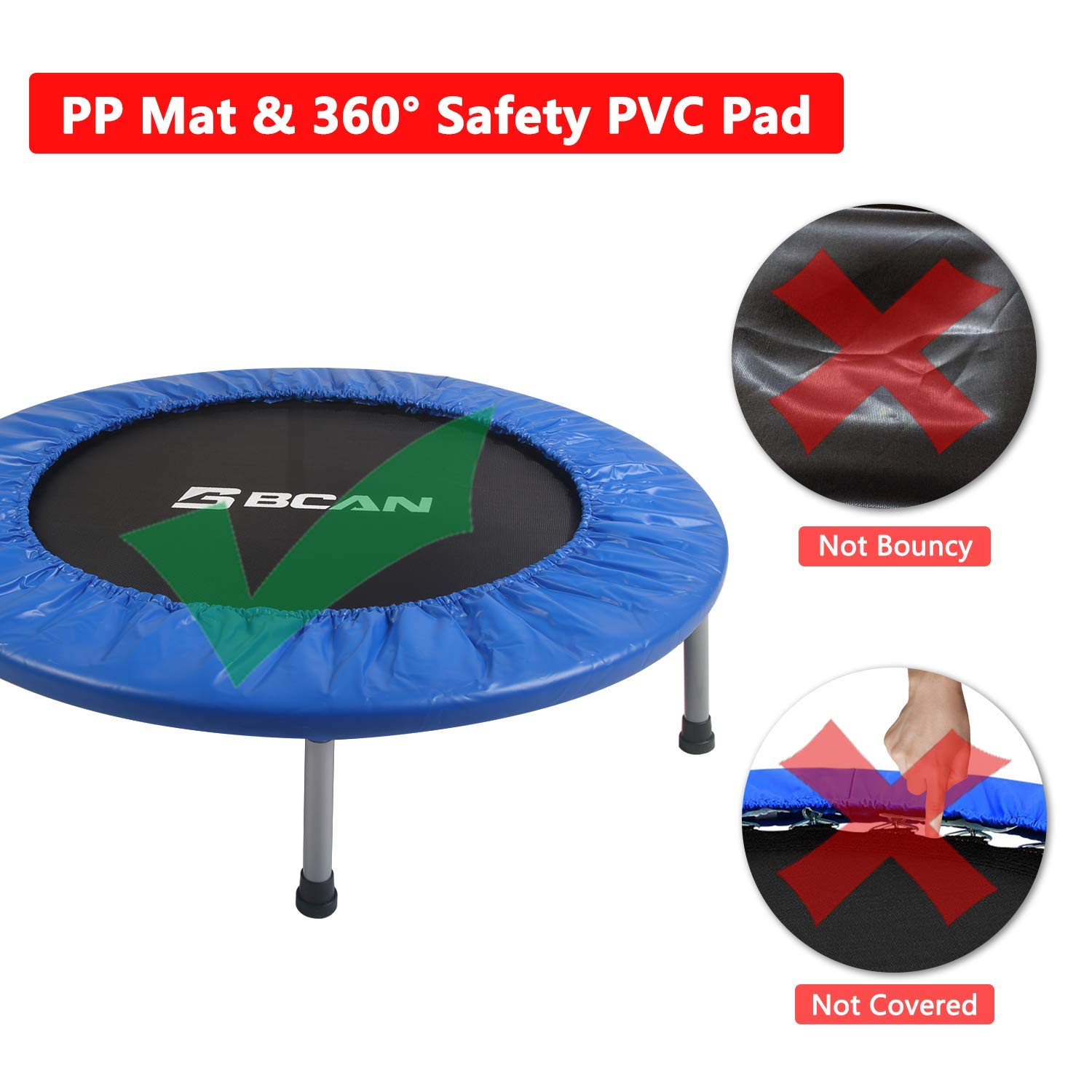 Stable /& Quiet Exercise Rebounder for Kids Adults Indoor//Garden Workout Max 300lbs BCAN 38 Foldable Mini Trampoline Fitness Trampoline with Safety Pad