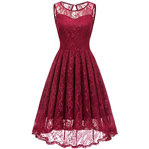 fc5cb533a347 Gardenwed Women's Vintage Lace High Low Bridesmaid Dress Sleeveless  Cocktail Party Swing Dress