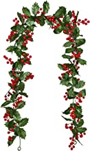 Lvydec Red Berry Garland Christmas Decoration - 5.8ft Artificial Greenery Garland with Red Berries and Holly Leaves for Ho...