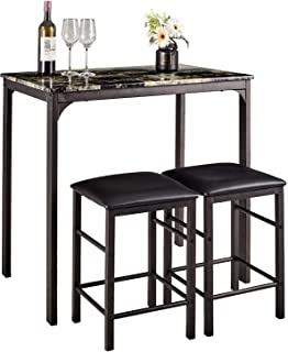 AMERLIFE 3 Piece Pub Table Set Faux Marble Rectangular Breakfast Wood Dining Table with 2 Bar Stools Counter Home Kitchen Bar, Set for 2, Black