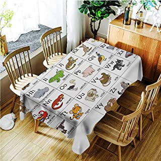 TT.HOME Small Rectangular Tablecloth,Educational Alphabet Learning Chart with Cartoon Animals Names Letters Upper and Lowercase,Table Cover for Dining,W60x120L,Multicolor