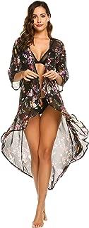 Ekouaer Women's Chiffon Cardigan 3 4 Sleeves Kimono Beach High Low Long Floral Cover Up