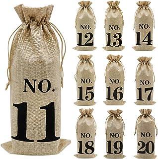 Shintop ジュートワインバッグ 10個 14 x 6 1/4インチ ヘシアン番号入りワインボトルギフトバッグ 巾着付き ワインの味見に (No.11-No.20、ブラウン)