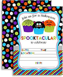 Spooktacular Halloween Cupcake Birthday Party Invitations, 20 5