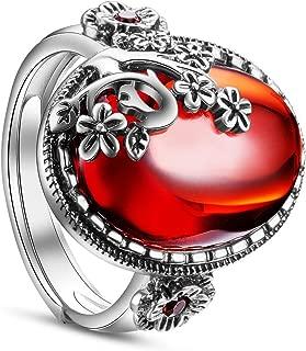 SHEGRACE Floral Ring for Women 925 Sterling Silver Finger Ring with Garnet Size 9(Adjustable) Antique Color