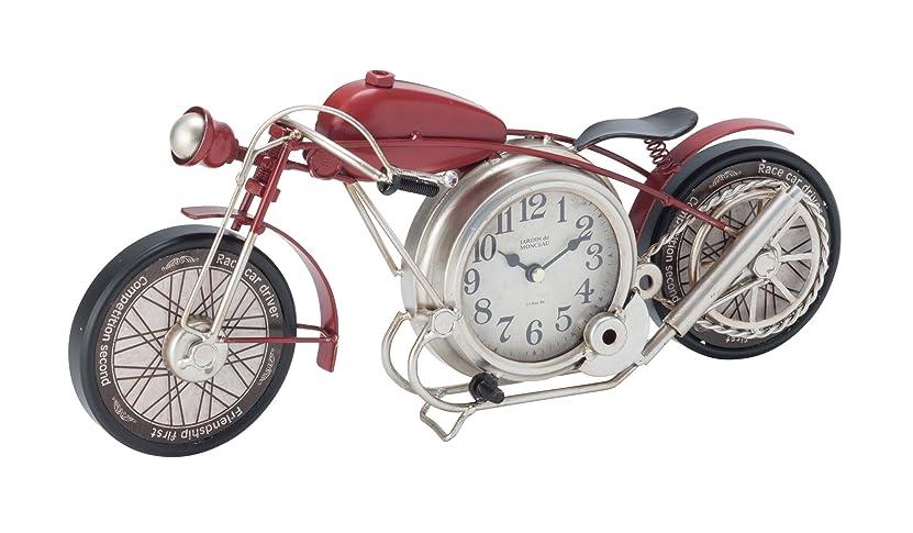 家庭教師乳白色コイルイシグロ 置き時計?掛け時計 レッド W43×H18.5×D7.5cm ウォールクロック アメリカンバイク クロック
