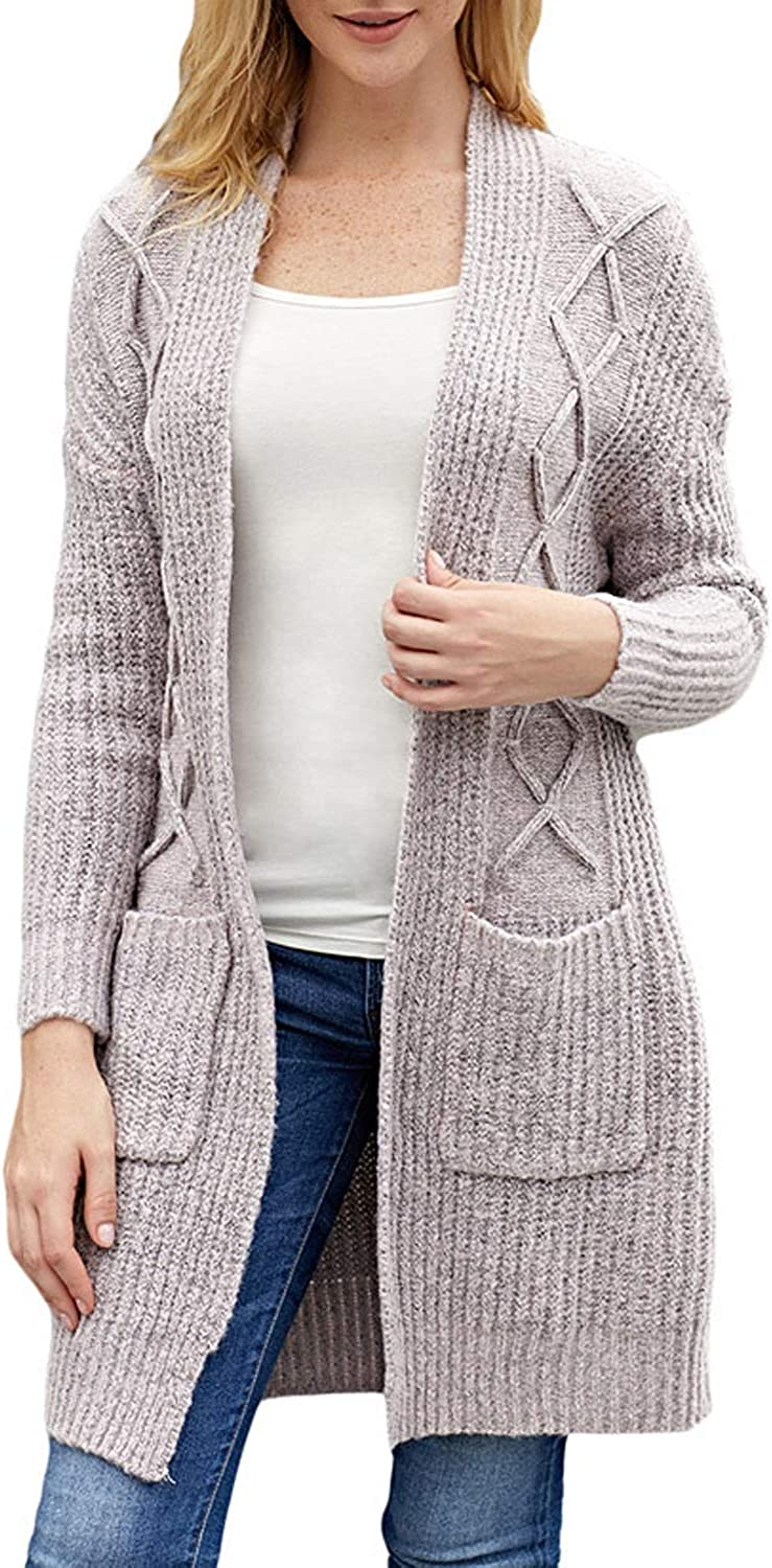 CEFULTY Women's Long Sleeve Double Pocket Open Front Knit Cardigan (color   Light Coffee, Size   XL)