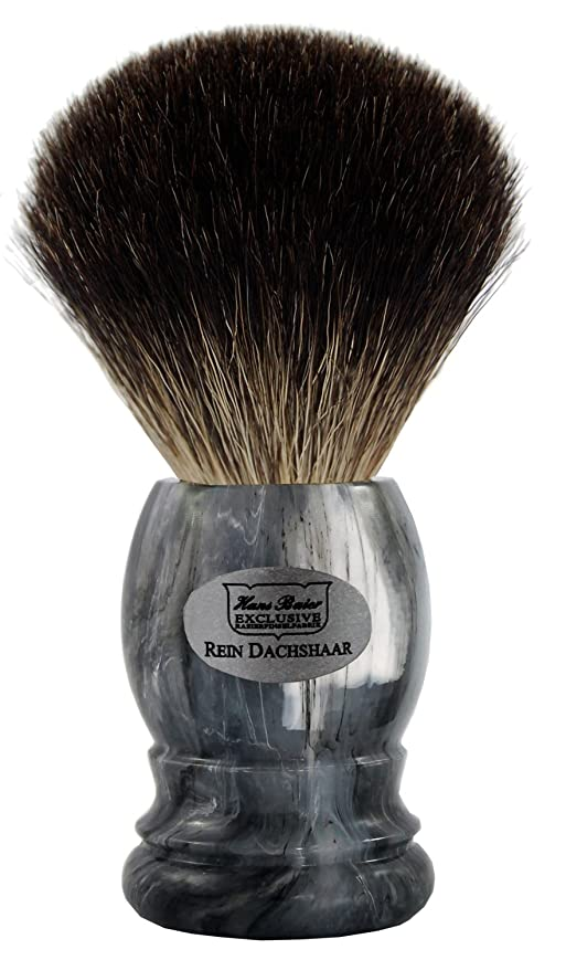 残りなめるコモランマShaving brush grey badger, grey handle - Hans Baier Exclusive