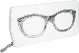 CTM Women's Leather Eyeglass Case with Eyeglass Design, White/Silver