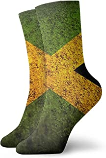 Novedad Divertido Crazy Crew Sock Vintage Bandera de Jamaica con textura antigua Calcetines deportivos deportivos impresos Calcetines de regalo personalizados de 30 cm de largo