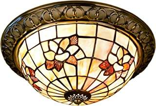 Tiffany Style Floral Ceiling Lights Pastoral Flush Mount Ceiling Lamp Natural Shell Magnolia Flower Art Ceiling Lighting F...