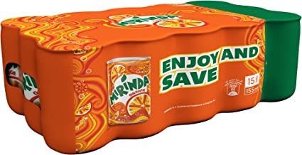 Mirinda Orange, Carbonated Soft Drink, Mini Cans, 15 x 155 ml