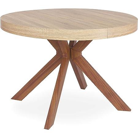 Menzzo Table a Manger avec Pied de Table Metal | Table Ronde Extensible Salle a Manger ou Cuisine avec Pied Central| Bois, Metal | Myriade |Diamètre 110 cm x H75 cm Dépliée: L110 x P160-210-260 x H75
