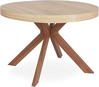 Menzzo Table a Manger avec Pied de Table Metal | Table Ronde Extensible Salle a Manger ou Cuisine avec Pied Central| Bois,...