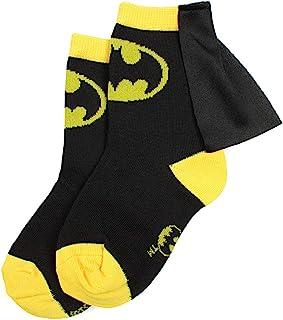 Superhero DC Comics Batman amarillo negro chicos jóvenes Caped Crew Socks (4-6).