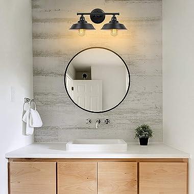 Farmhouse Bathroom Vanity Light Fixtures Matte Black, Metal Bathroom Lights Over Mirror 2-Lights, Rustic Style Vintage Wall S