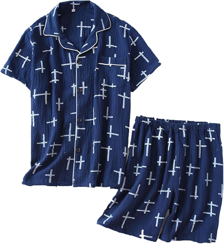 Men'S Short Pajamas Set For Men 2Pc Sleepwear Blue Xl