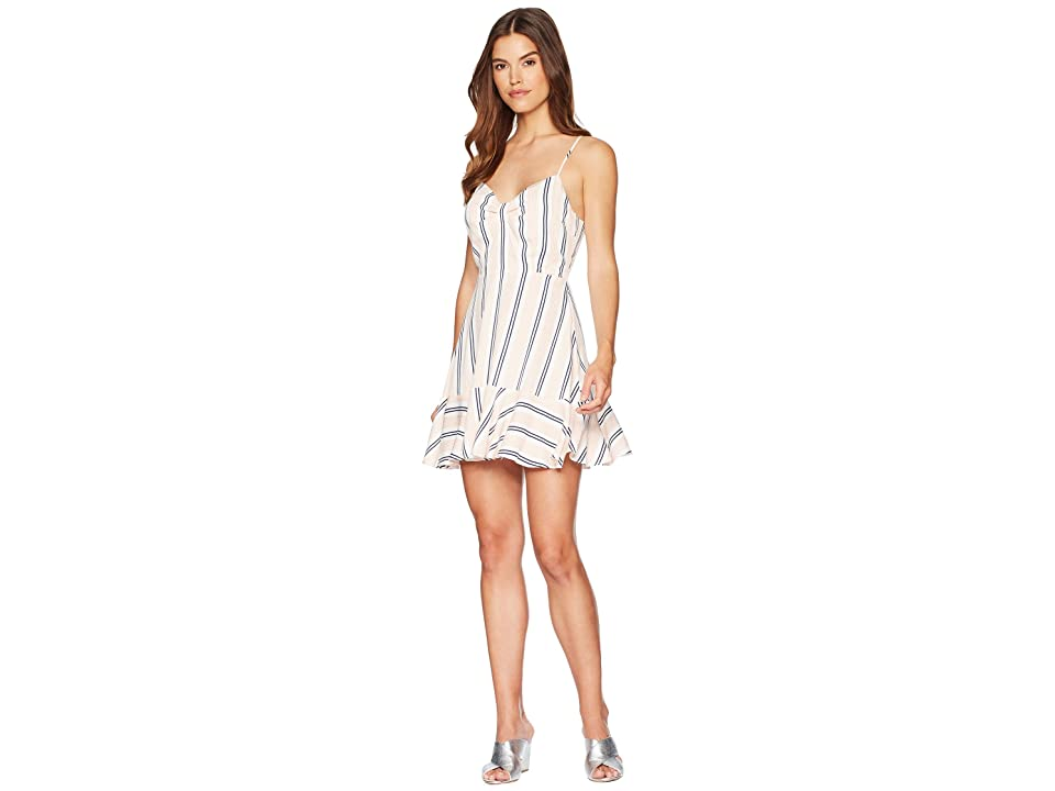 BB Dakota Hollie Vertical Stripe Ruffle Dress (Ivory) Women