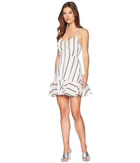 Hollie Vertical Stripe Ruffle Dress, Ivory