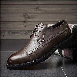 Zapatos casuales Zapatos de Oxford de los hombres, cuero vegano ocasional y zapatos de punta de encaje de tres ojos con co...