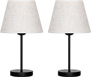 Lot de 2 petites lampes de table avec abat-jour en tissu et base en métal - Pour chambre à coucher, salon, chambre de fill...