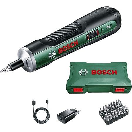 Visseuse sans fil ergonomique Bosch - PushDrive (Batterie 3,6V - 1,5Ah intégrée, recharge Micro USB, livrée avec 32 embouts de vissage et boite de rangement)
