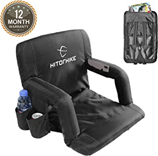 Hitorhike Stadium Seat for Bleachers or Benches Portable Reclining Stadium Seat Chair with Padded Cushion Chair Back and Armrest Support