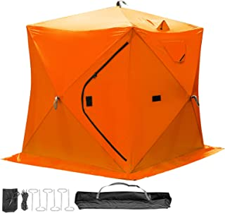 Happybuy Ice Fishing Tent Waterproof Pop-up 2/3/4/8 Person Shanty Window w Carrying Bag Ice Shelter Fishing Tent with Detachable Ventilation Windows Frost Resisting Oxford Fabric Zippered Door