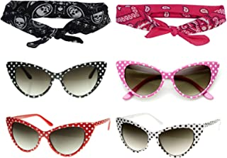 50s Polka Dot Cat Eye Sunglasses Black Pink Red White +Bandana Tie Headband Set