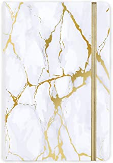 "Ruled Notebook/Journal - Hardcover Notebook with Premium Thick Paper, 5.6""×8.3"", Golden & White Marble Pattern, Perfect for Office Home School Business Writing & Note Taking"