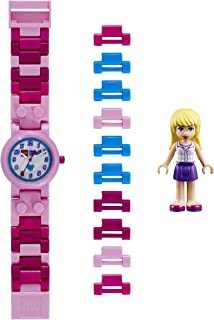LEGO Friends 8020172 Stephanie Kids Buildable Watch with Link Bracelet and Minifigure | pink/white|green/black| plastic | 25mm case diameter| analogue quartz | boy girl | official