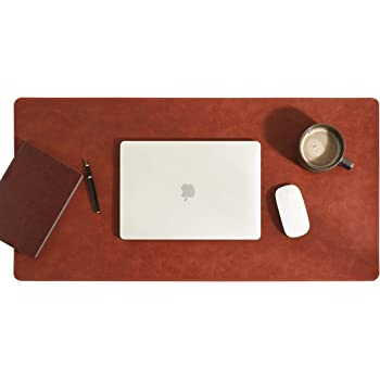 """Aothia Natural Cork & Leather Dual-Sided New Upgrade Sewing Edge Office Desk Pad,31.5"""" x 15.7"""" Desk Mat Desk Blotter,Laptop Desk Mat, Waterproof Non Slip Desk Writing Pad for Home/Gaming(Brown)"""