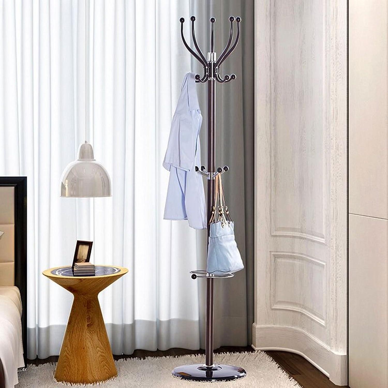 GJM Shop Iron Floorstanding Coat Rack Simple Bedroom Modern European Living Room Round Base Hanging Rack Creative Shelves (color   1, Size   38  180cm)