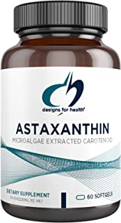 Designs for Health Astaxanthin - Microalgae (Haematococcus Pluvialis) Extracted Carotenoid Antioxidant Supplement - Suppor...