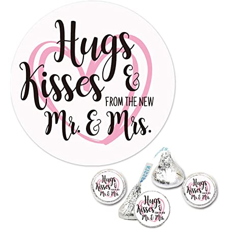 Hugs /& Kisses Personalized Wedding Labels 3 Sizes Round Bridal Shower Favor Labels