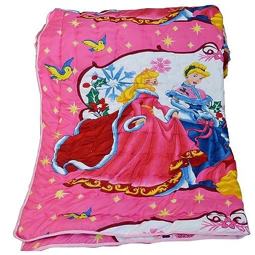 Mahima Furnishing Pink Barbie Doll Reversible Single Bed Quilt for Kids