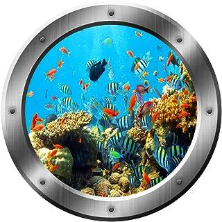 Coral Reef Wall Decal Porthole Ocean School of Fish Wall Sticker Home Decor VWAQ-SP19 (14