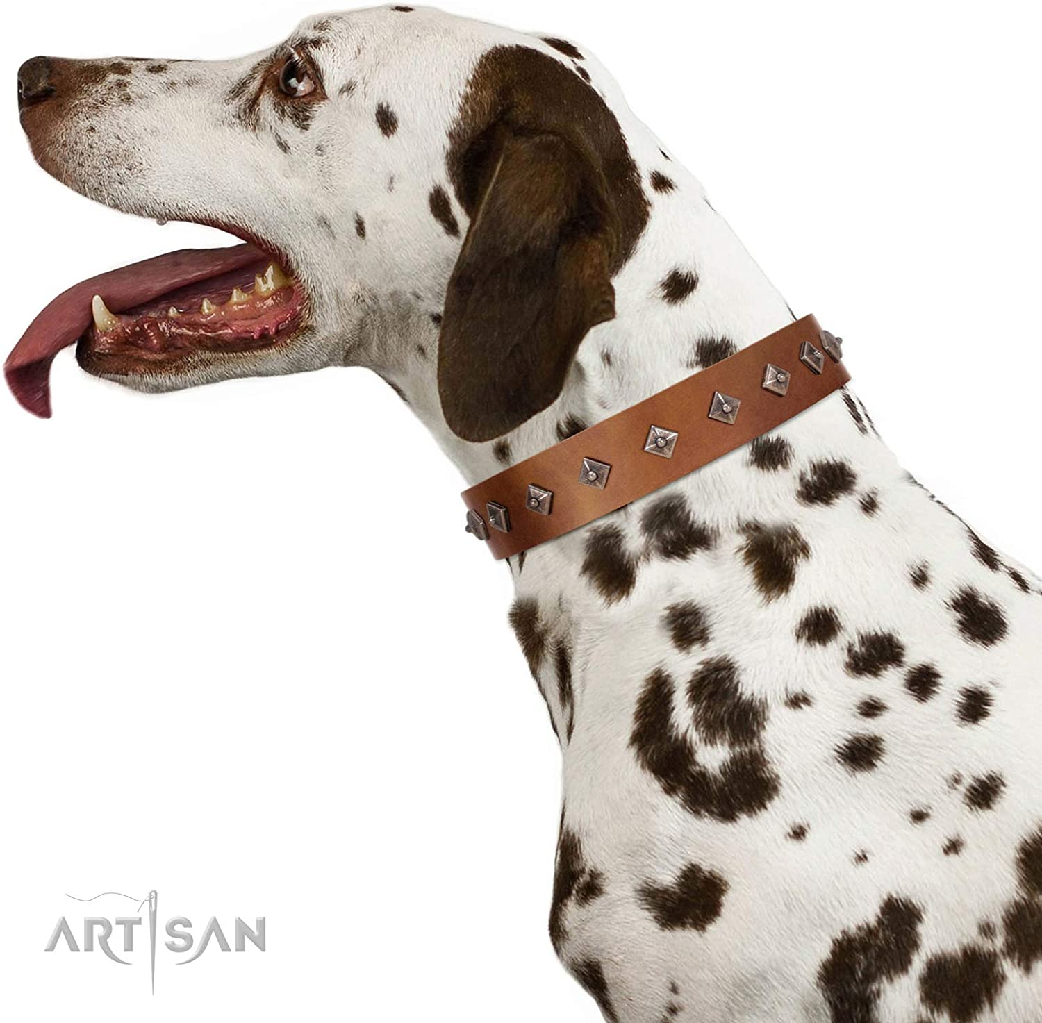 FDT Artisan 17 inch Handmade Tan Leather Dog Collar with Dotted Pyramids  Broadway Box  1 1 2 inch (40 mm) Wide