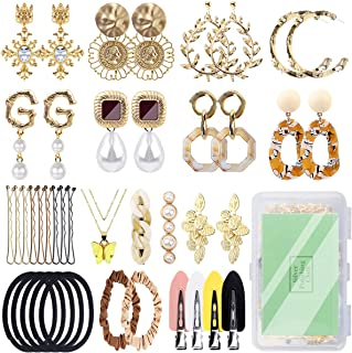 Nunalisa Premium 34Pcs Earrings Set For Women, 9Pairs Fashion Gold Earrings Women Jewelry, Append Necklace Pearl Hair Clip...