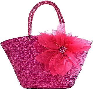 Women Woven Straw Tote Flower Silk Casual Beach Handbag