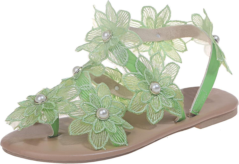 ZiSUGP Women's Sandals Summer Flat Bottom Retro Toe Bosden Large Women's Sandals