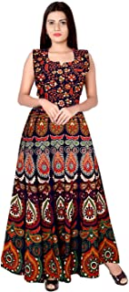 f70a54989 Monique Present Rajasthani Traditional Cotton Designer long Dress in  Jaipuri Printed (Free Size UPTO 44XL