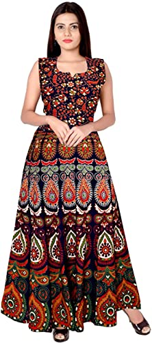 Present Rajasthani Traditional Cotton Designer Long Dress In Jaipuri Printed Free Size UPTO 44XL