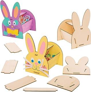 Baker Ross AT442 Kits Cestas de Madera Conejito - Actividad de manualidades infantiles de Pascua para crear y exhibir (Paq...
